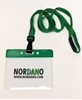 Bild von Card holder / carrying case soft plastic 86 x 54 mm. green top / clear with a green lanyard