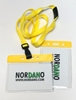 Bild von Card holder / carrying case soft plastic 86 x 54 mm. yellow top / clear with a yellow lanyard