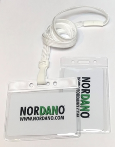 Bild von Card holder / carrying case soft plastic 86 x 54 mm. white top / clear with a white lanyard